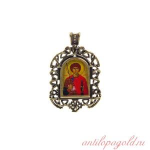 Бронзовая нательная икона Георгий Победоносец на шнурке