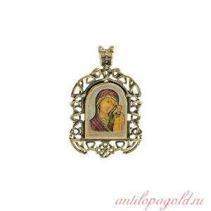 Бронзовая нательная иконка Казанская икона Божией Матери на шнурке
