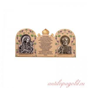 Деревянная иконка Богородица Казанская и Святитель Николай