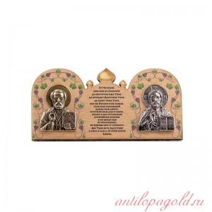 Деревянная иконка Иисус Христос и Святой Николай