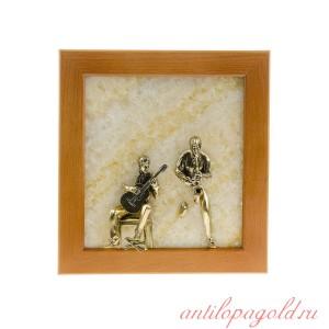 Картина на ониксе Гитарист и саксофонист