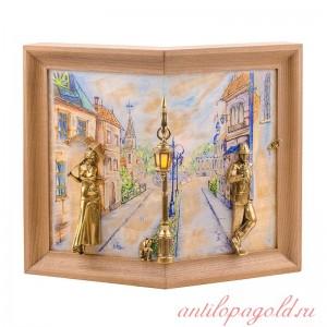 Картина угловая Пара с кошкой рисованная на ониксе с подсветкой