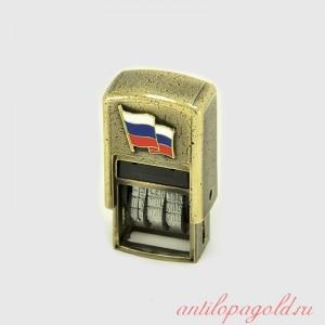 Маленький штамп-датер с флагом РФ