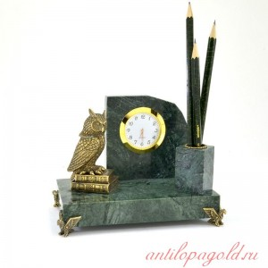 Письменный набор с часами Сова