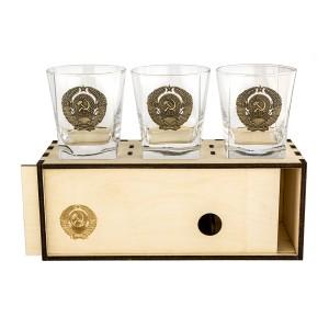 Коллекционный сувенирный стакан для виски Герб СССР