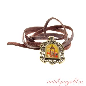 Бронзовая нательная иконка Святые Вера, Надежда, Любовь и София на шнурке