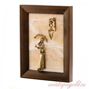 Картина-панно Девушка с зонтиком без подсветки на натуральном камне из оникса