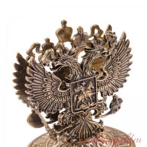Настольная визитница Герб РФ из бронзы
