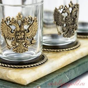 Подставка с рюмками Герб РФ