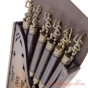 Коллекционный сувенирный набор шампуров (6шт.) с наконечником Пёс-охотник