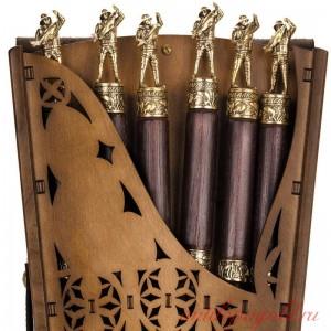 Коллекционный сувенирный набор шампуров (6шт.) с наконечником Рыбак