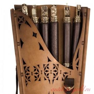 Коллекционный сувенирный набор шампуров (6шт.) с наконечником Бронетехника