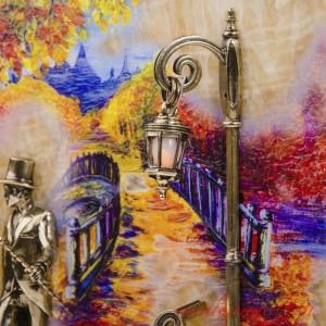 КАРТИНА Вечерняя прогулка. Мост с подсветкой