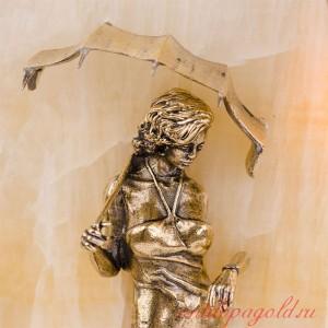 Картина-панно Девушка с парнем на камне оникс с подсветкой