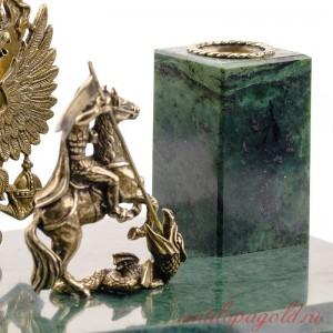 Подставка под ручки Георгий Победоносец с гербом РФ