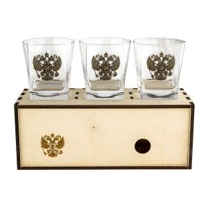 Коллекционный сувенирный стакан для виски Герб России (3шт)