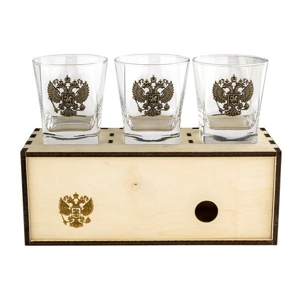 Коллекционный сувенирный стакан для виски Герб России