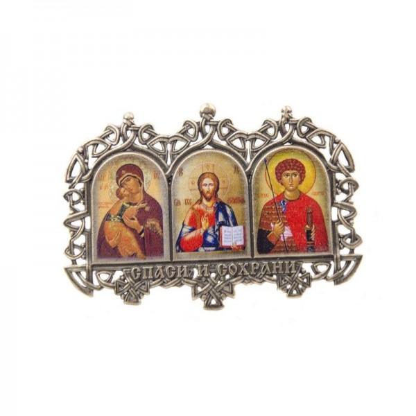 Иконка тройная Казанская, Иисус, Николай