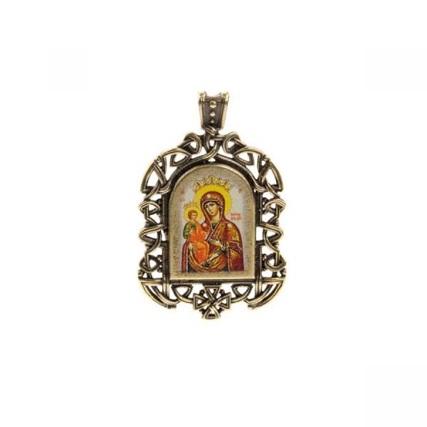 Бронзовая нательная икона Божия Матерь Троеручица на шнурке