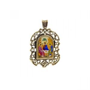 Бронзовая нательная икона Святая Троица на шнурке