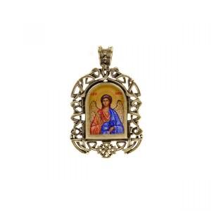 Бронзовая нательная иконка Ангел Хранитель на шнурке