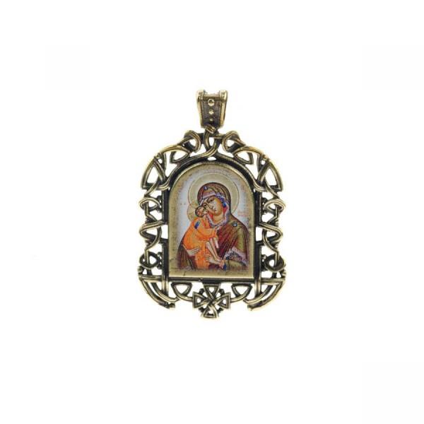 Бронзовая нательная иконка Донская икона Божией Матери на шнурке