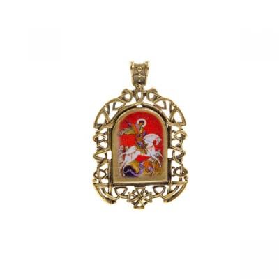 Бронзовая нательная иконка Георгий Победоносец на коне на шнурке