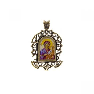 Бронзовая нательная иконка Иверская икона Божией Матери на шнурке