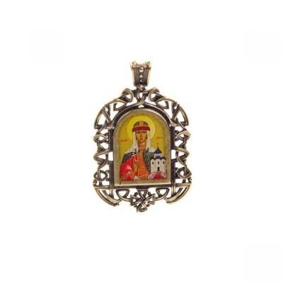 Бронзовая нательная иконка Княгиня Ольга на шнурке