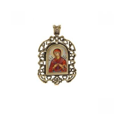 Бронзовая нательная иконка Семистрельная икона Божией Матери на шнурке