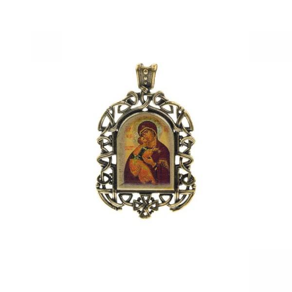 Бронзовая нательная иконка Владимирская икона Божией Матери на шнурке