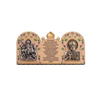 """Деревянная икона """"Святой Георгий и Николай Чудотворец"""""""