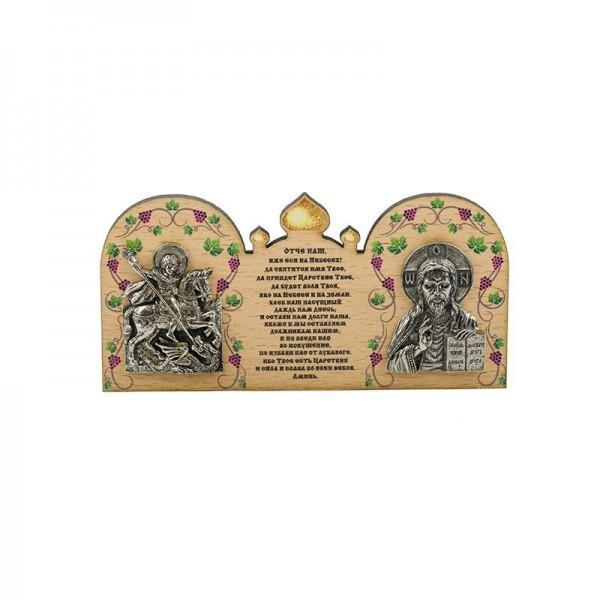 Деревянная икона в машину Иисус Христос и Георгий Победоносец