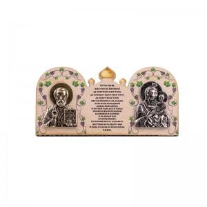 Деревянная иконка Богородица Иверская и Николай Чудотворец