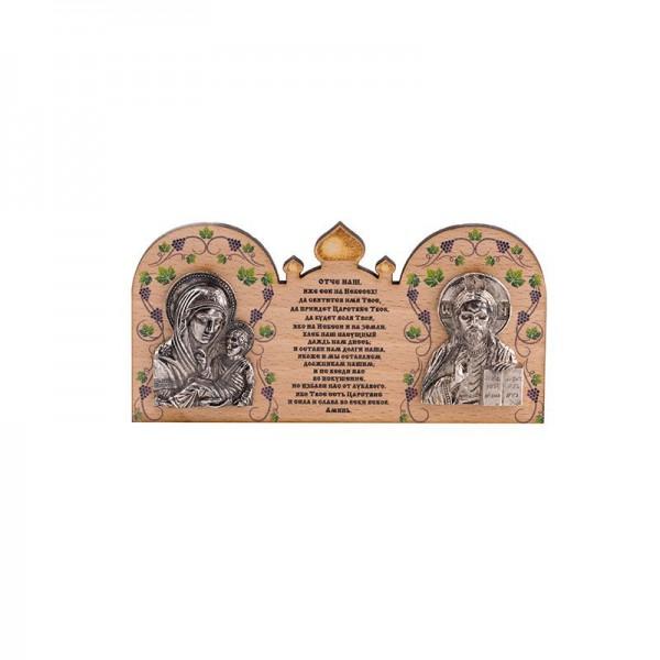 Деревянная иконка Богородица Казанская и Иисус Христос
