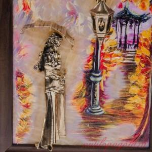 КАРТИНА Девушка с зонтом. Осень