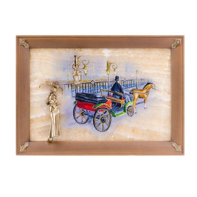 Картина на ониксе Связь времён. Девушка с зонтиком с росписью и подсветкой