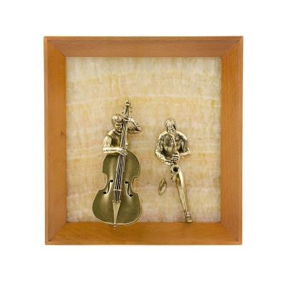 Картина-панно Контрабасист и саксофонист на ониксе