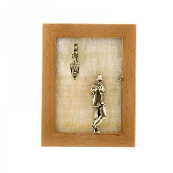 Картина-панно Парень с розой без подсветки на камне оникс