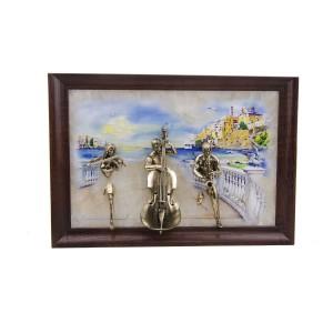 Картина Трио на ониксе рисованная