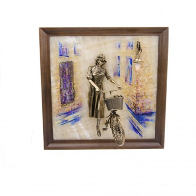 Картина Велосипедистка рисованная с подсветкой