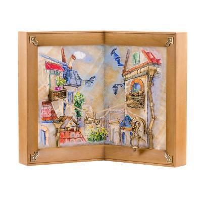 Картина угловая Мартовский кот рисованная на ониксе с подсветкой