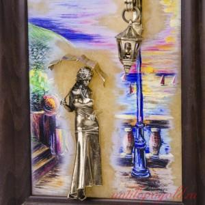 КАРТИНА Девушка с зонтом. Набережная. Парусники