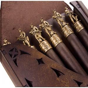 Коллекционный сувенирный набор шампуров (6шт.) с наконечником Охотник