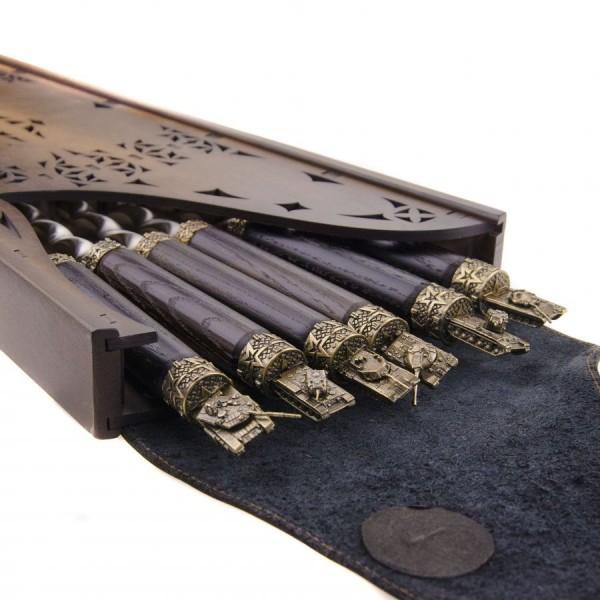 Коллекционный сувенирный набор шампуров (6шт.) с наконечником Танк