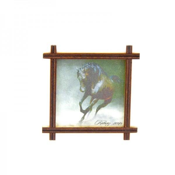 Магнит-рамка маленькая с холстом Конь