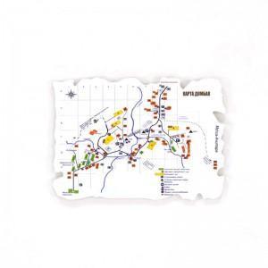 Пластиковый магнит Домбай. Карта Домбая