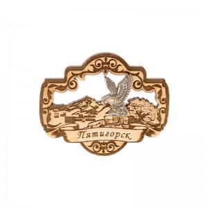 Сувенирный деревянный магнит Пятигорск. Орёл