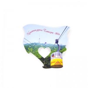 Сувенирный пластиковый магнит Пятигорская канатка